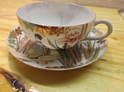 Hand Painted Antique Japanese Eggshell Porcelain Iris and Lady Cup & Saucer