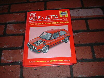 HAYNES MANUAL FOR VOLKSWAGEN GOLF & JETTA. INC GTi .1984 TO 1992. A TO J REG.