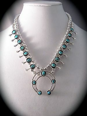 Navajo Stabilized Turquoise and SS Squash Blossom Necklace by Phil Garcia