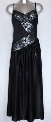 SMOOTH, SILKY, GLOSSY NYLON NIGHTIE, NEGLIGEE SHEER LACY FRONT DETAIL size S / M