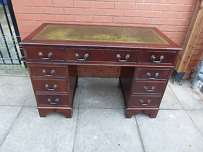 A Mahogany Green Leather inlay Twin Pedestal Desk ****DELIVERY AVAILABLE***