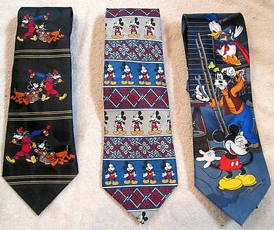 """Lot of 3 Disney """"Mickey Mouse"""" TIES"""
