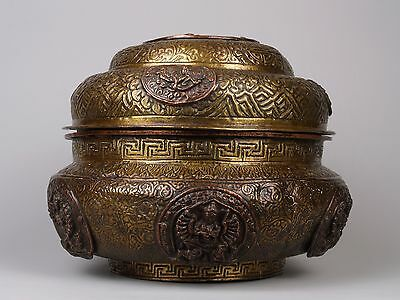 A 19th c. Tibetan Copper Embellished Brass Offerings Box - Fine Embellishment.
