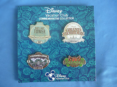 VACATION CLUB  Disney Pin SET of 4  DVC EXCLUSIVE  2015 On  Card
