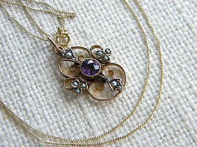 Antique Victorian 9ct Gold Purple stone pendant ~ chain necklace ~ lovely ~