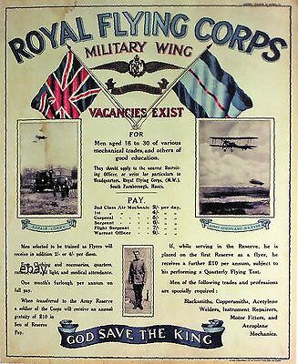 Ww1 Recruiting Poster Royal Flying Corps Raf New A4 Print Royal Air Force