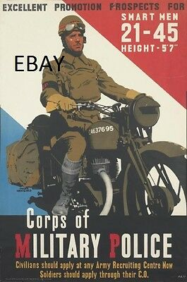 Ww2 Royal Military Police Motorcyclist British Army Poster New A4 Print