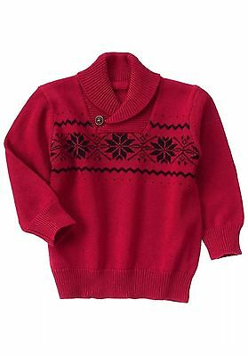 NWT Gymboree VERY MERRY Boys 2T Red Snowflake Fair Isle Holiday Sweater