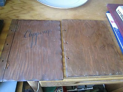 """Vintage Wood """"CLIPPINGS"""" Scrapbook Journal Photo Album Wooden Cover ONLY"""
