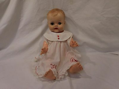 """Vintage Molded Hair 19"""" Drink Wet 60's Baby Doll Jointed"""