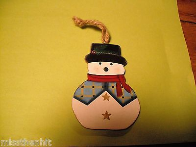 Handcrafted Wooden Snowman Ornament