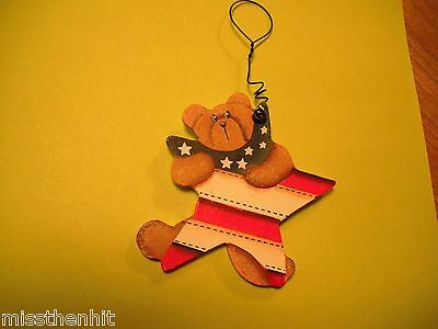 Handcrafted Wooden Bear & Star Ornament