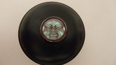 Vintage Deco Bakelite? Trinket Box Saphiret  Style Man In Moon Face Decoration