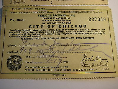 Antique Vehicle License 1930 City of Chicago.