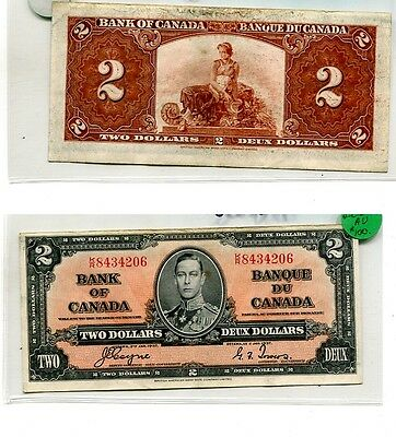 Canada 1937 $2 Currency Note Xf 5035H