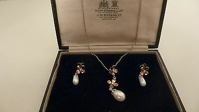 Silver Pearl Drop Necklace And Earring Set