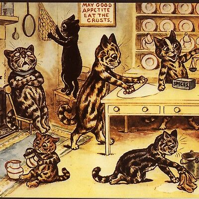 """Louis Wain....cats """"in The Kitchen"""" Baking,blank ,reproduction Greeting Card"""
