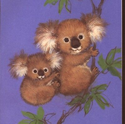 Cutie Pie !  Koala Mother & Baby In Tree,mint ! Vintage Greeting,blank,note Card