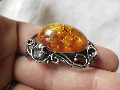 Beautiful Vintage Sterling Silver Genuine AMBER Brooch fully hallmarked