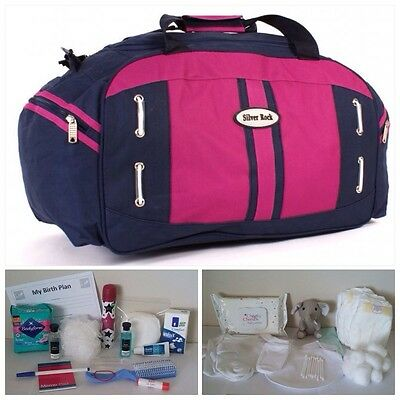"""BUDGET Pre-packed Navy/Pink Maternity 22"""" Hospital Bag for Mum & Baby (unisex)"""