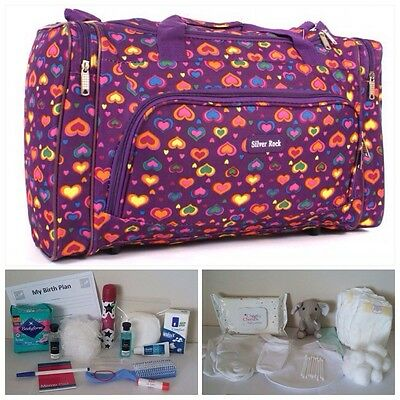 BUDGET Pre-packed Purple Heart Maternity Hospital Labour Bag Mum & Baby (unisex)