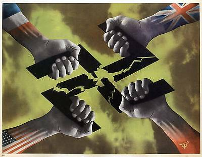 Ww2  Allies Anti German Propaganda Poster Usa Britain Russia France New A4 Print