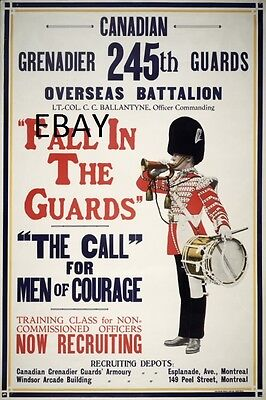 Ww1 Recruiting Canadian Grenadier Guards Canada  Army New A4 Print