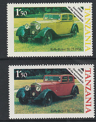 Tanzania (28) 1986 Motoring Rolls Royce Cars 1s50 RED OMITTED plus normal mnh