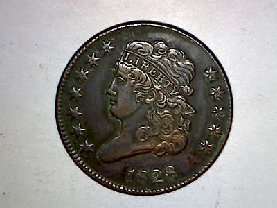 1828 Half Cent 12 Stars Xf Condition