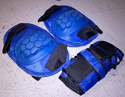 Skating Bike Cycling Kids Knee Protector Kit Wrist Elbow Safety Pad Blue