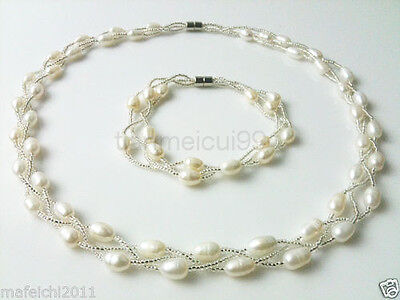 Charming 3 rows white pearl necklace &bracelet set