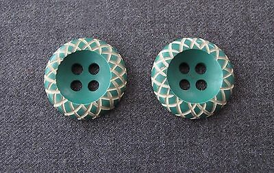 2  Antique 1930's Carved Off White Green Galalith Flower Buttons