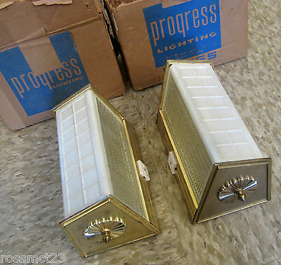 Vintage Sconces matched pair never used Mid Century bathroom wall lights