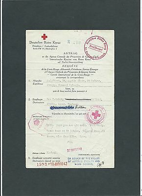 Channel Islands 1942 German Red Cross Message Form +Censors Jersey to Lancashire