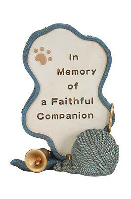 Cat Memorial Blue With Bell And Ball Of Wool - Pet Memorial