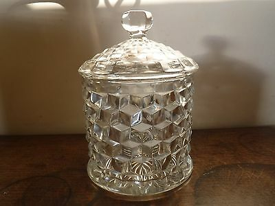 Cubed Glass Fostoria American Biscuit Barrel - Cookie Jar.