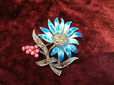 VINTAGE 1950s MARCASITE ENAMELBLUE & PINK FLOWER BROOCH  CHRISTMAS GIFT