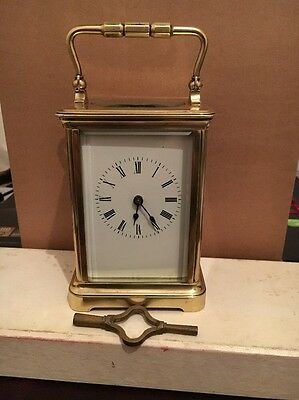 8 DAY  French brass striking carriage clock C1890