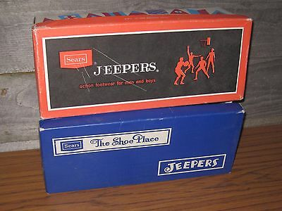 TWO VINTAGE 1960's 1970's JEEPERS SHOE BOXES (ONLY) SNEAKERS SEARS & ROEBUCK