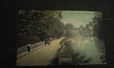 Carmarthenshire,Johnstown,horse and trap,stream etc printed postcard,posted1908.