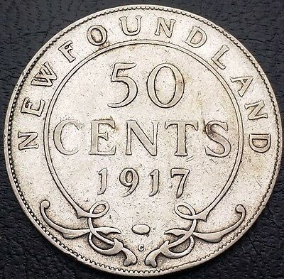 1917 Newfoundland Canada 92.5% Silver Half Dollar - 50 Cents - Free Combined S/H