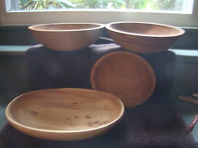 Vintage Wood Bowl Lot of 4 Woodenware farmhouse decor primitive Country Munsing
