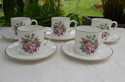 Royal Worcester Floral Coffee Cups & Saucers x 5
