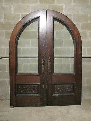 ~ Extraordinary Antique Oak Carved Double French Doors 69 X 91 ~ Salvage ~