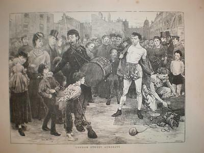 London Street Acrobats 1871 print UK