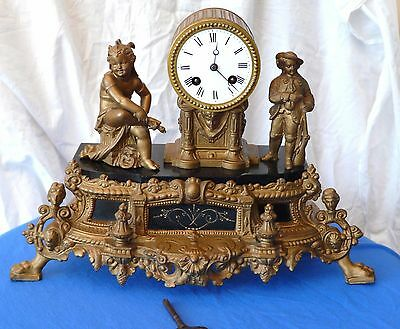 C19Th French Striking Spelter Clock With Japy Freres Movement