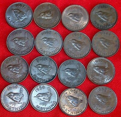 GB - George VI  Farthings (set) x 16 (1937 - 1952) All  hard Dates included