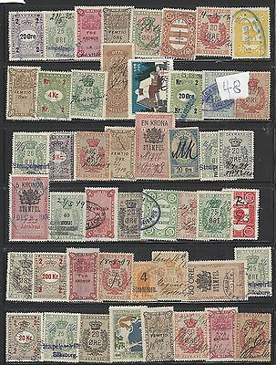 98 Scandanavian Revenue Stamps Denmark, Iceland, Norway, Sweden val to 200Kr