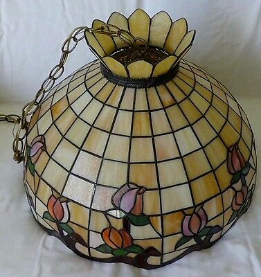 "Large CHANDELIER Stained Leaded Glass Beige with Flowers""Very Old"" Great Shape"