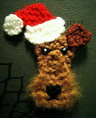 knitted Christmas airedale terrier brooch NEW !